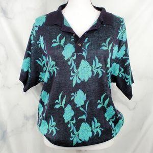 ✨VTG✨ Floral Knit Collared Shirt